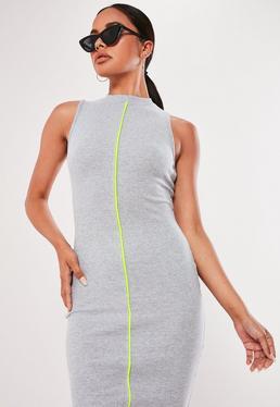 Серое ребристое облегающее платье Midaxi с контрастной окантовкой