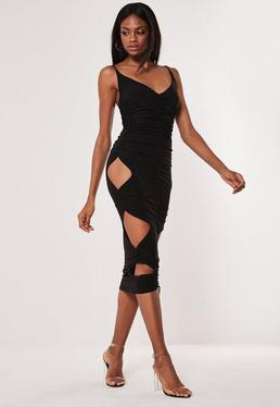 726673560fc Black Double Layer Slinky Cut Out Midaxi Dress