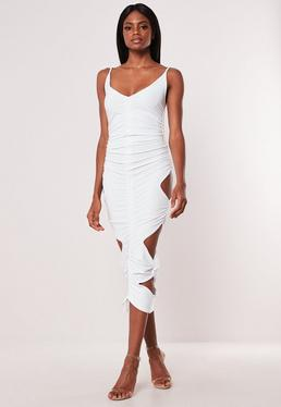 1f8eee4ad928 ... White Double Layer Slinky Cut Out Midaxi Dress