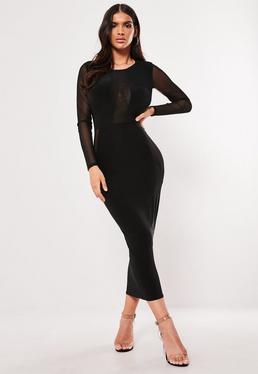 Black midi bodycon dress uk tall high