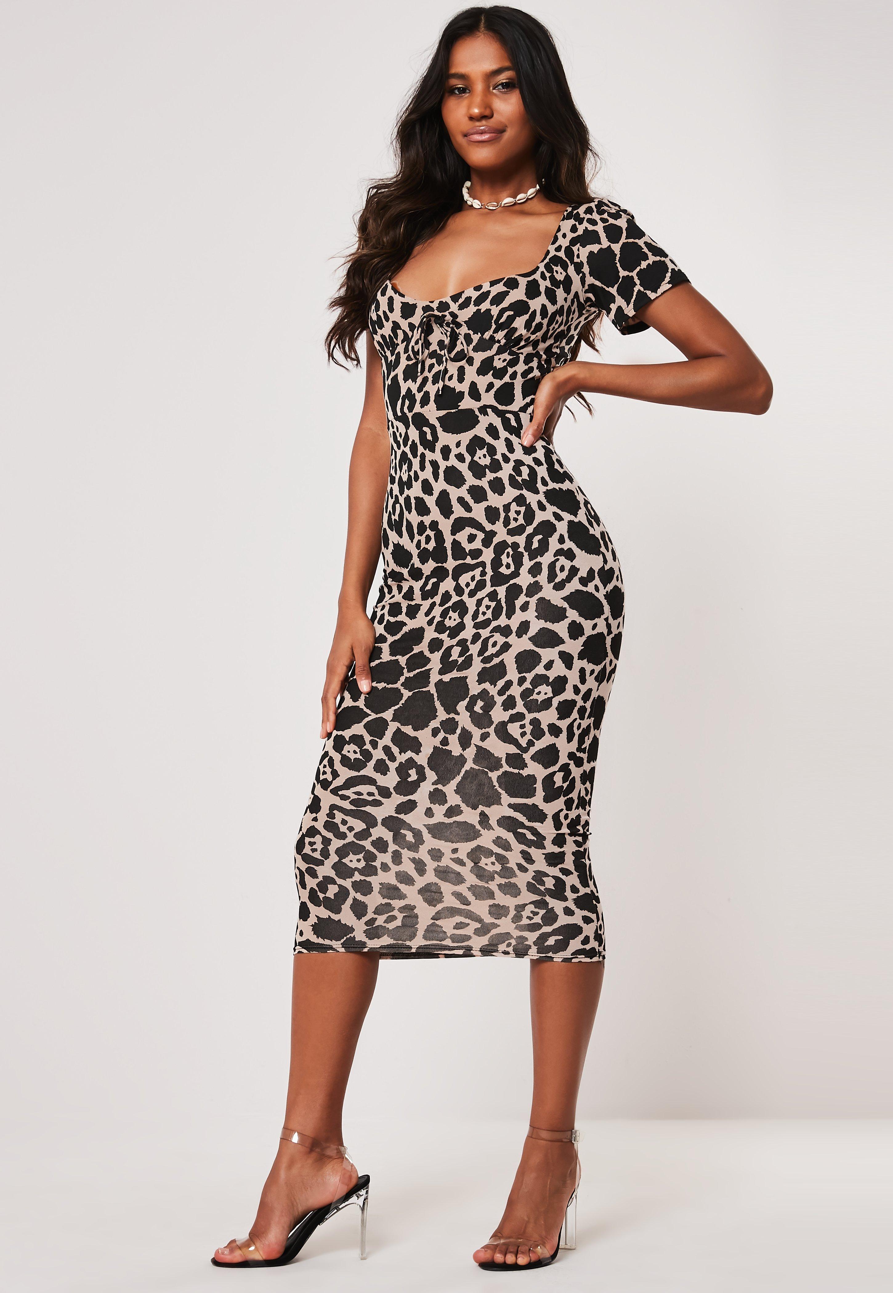 8170164f56 Stone Leopard Print Tie Front Midi Dress | Missguided