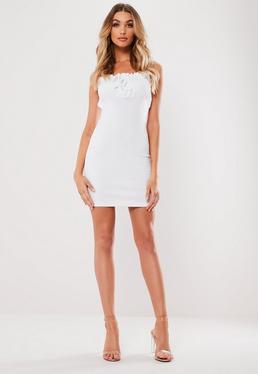 049607f2a8 White Ribbed Frill Bodycon Mini Dress