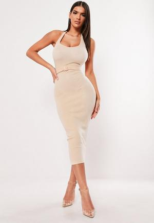 622c47d8567 £18.00. stone ribbed belted halterneck bodycon ...