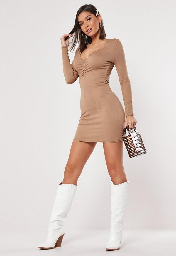 Bodycon in coral neck ruched mini dress issaquah