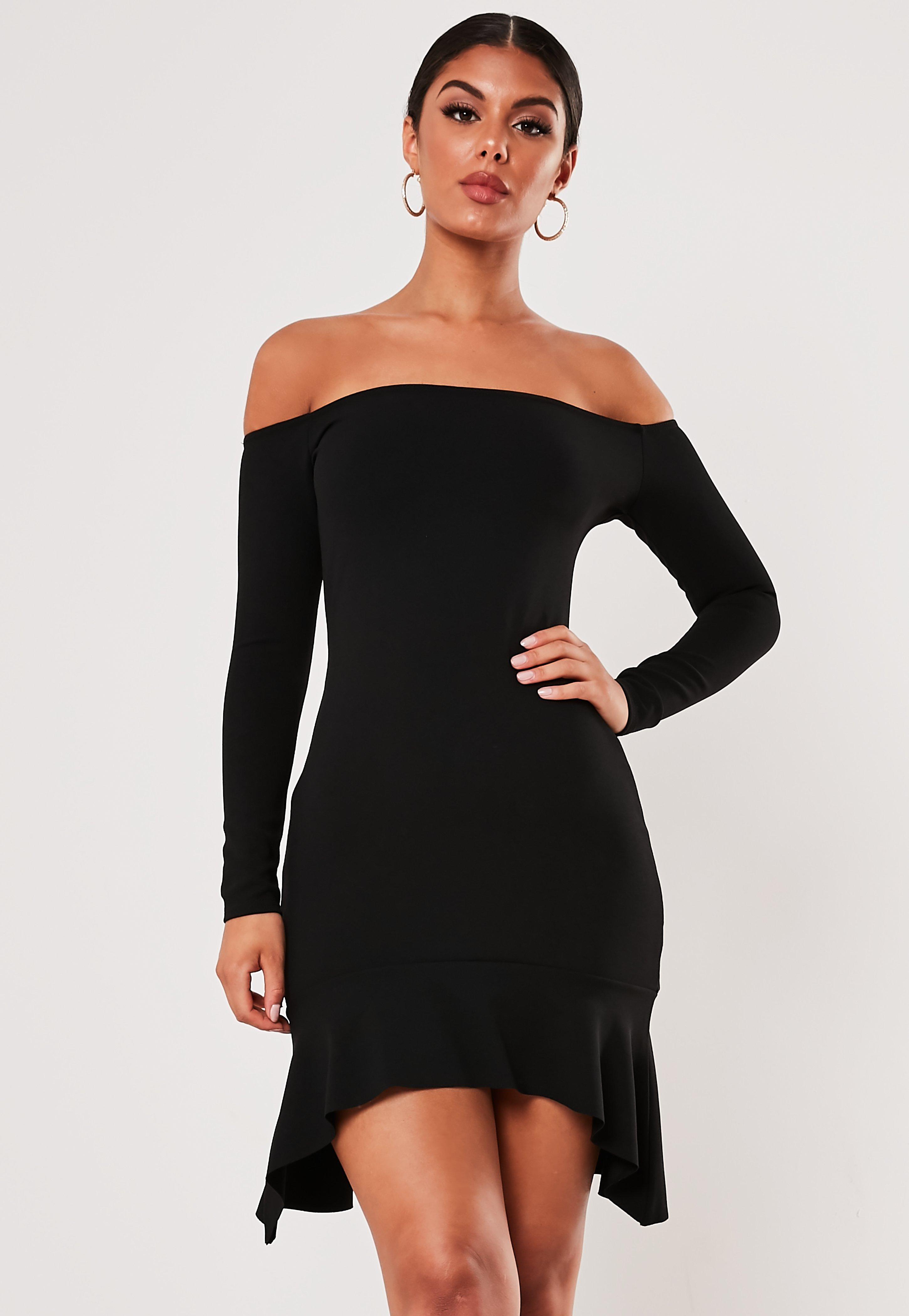 a307f6a4392c Black Bardot Dresses   Shop Black Bardot Dresses Online - Missguided