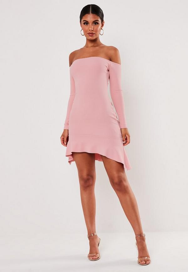Blush Bardot Frill Hem Bodycon Mini Dress Missguided
