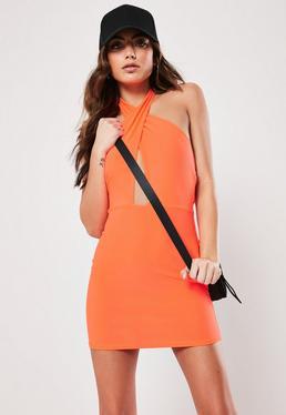 Orange Cross Front Halterneck Mini Dress ba5d119c6
