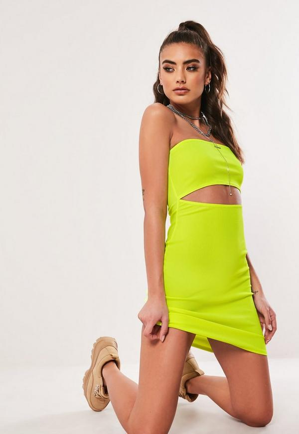Neon Yellow Bandeau Cut Out Mini Dress by Missguided