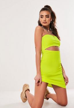 0415e03a0a Neon Yellow Bandeau Cut Out Mini Dress