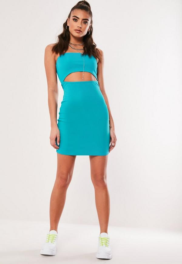 Blue Bandeau Cut Out Bodycon Mini Dress Missguided