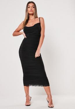 a3943086ce3 Black Slinky Ruched Cowl Bodycon Midi Dress