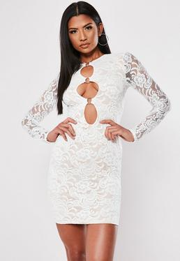 White Cocktail Dresses with Sleeves for Women