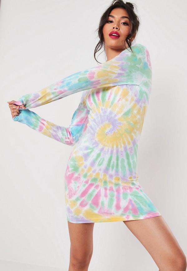White Rainbow Tie Dye Bodycon Mini Dress | Missguided