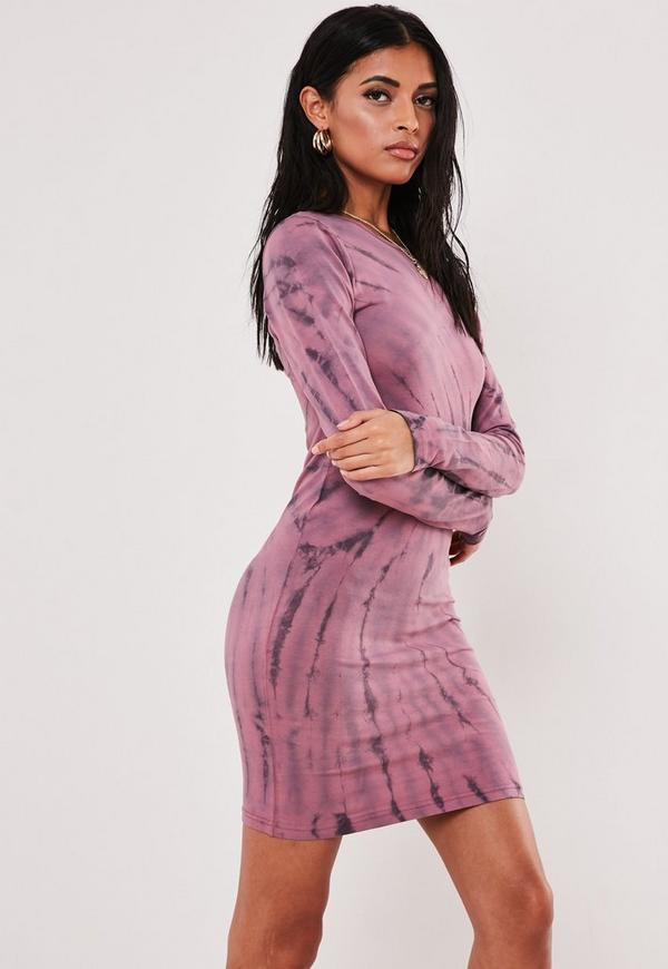 Brown Tie Dye Bodycon Mini Dress Missguided