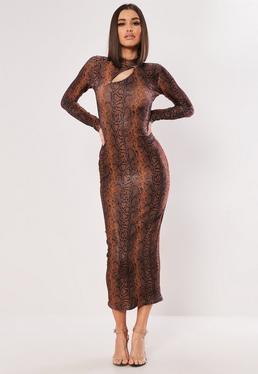 0998f99439e9 Rust Shimmer Snake Bodycon Midaxi Dress