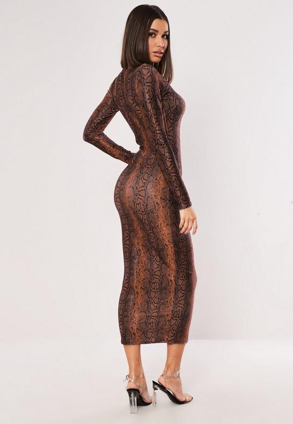 Neck print dress tan bodycon snake high ruby
