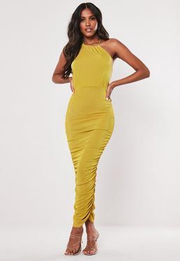 136ce49ead65 Mustard Ruched Halterneck Slinky Bodycon Midaxi Dress