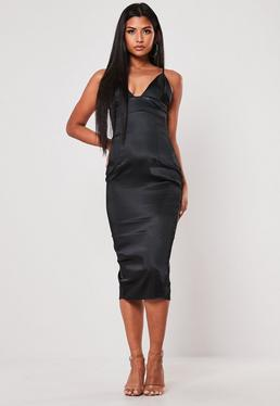 0aeb6de298e Black Satin Cupped Midi Dress