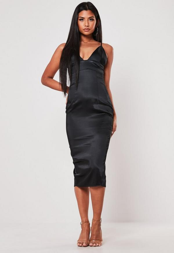 eac9a6acd481 Grey Ribbed Racer Back Bodycon Midi Dress | Missguided Australia