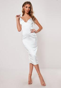 0e0b63fe3e3 White Stretch Satin Cupped Bodycon Midi Dress