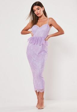 bc46dc0f14c Lilac Lace Diamante Strap Peplum Midi Dress
