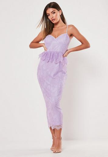 Lilac Lace Diamante Strap Peplum Midi Dress by Missguided