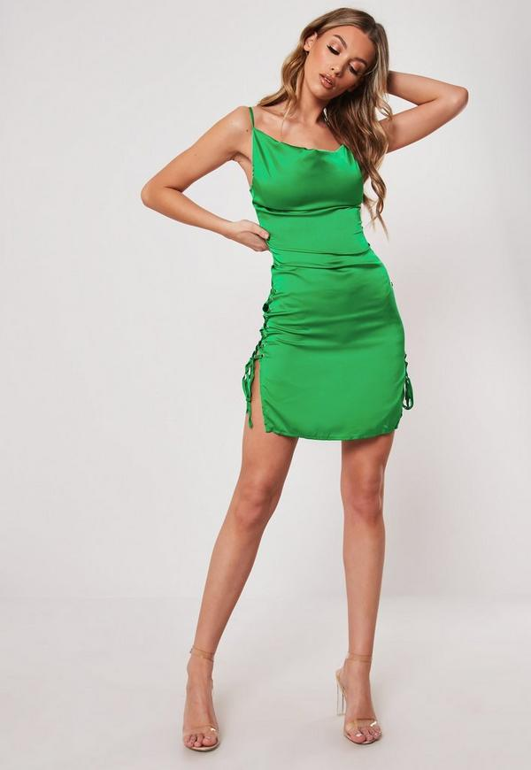 Green Cowl Front Lace Up Satin Bodycon Mini Dress Missguided