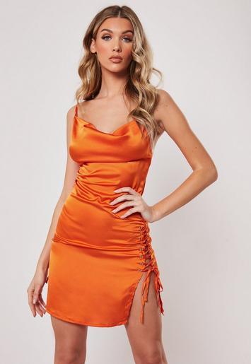 Orange Cowl Front Lace Up Satin Bodycon Mini Dress