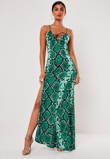 Green Snake Print Satin Lace Up Cami Maxi Dress Missguided