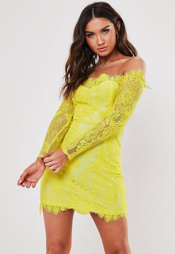 Yellow Eyelash Lace Bardot Bodycon Mini Dress by Missguided