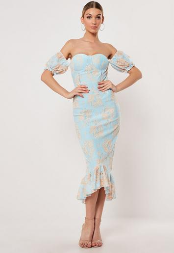 Blue Lace Bardot Fishtail Midi Dress by Missguided