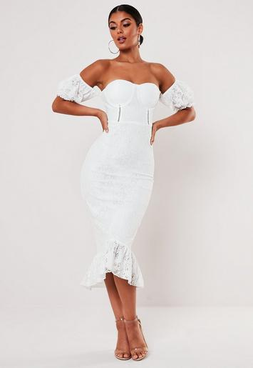 White Lace Bardot Fishtail Midi Dress Missguided