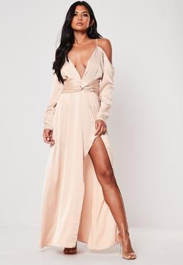 060d80fe8ca ... Champagne Satin Cold Shoulder Plunge Maxi Dress
