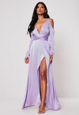 65c41e27fc5 ... Lilac Satin Cold Shoulder Plunge Maxi Dress