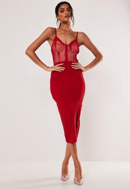 ed61f673f42 White Scuba Frill Lace Panel Plunge Mini Dress · Red Hook And Eye Lace  Bodycon Midi Dress