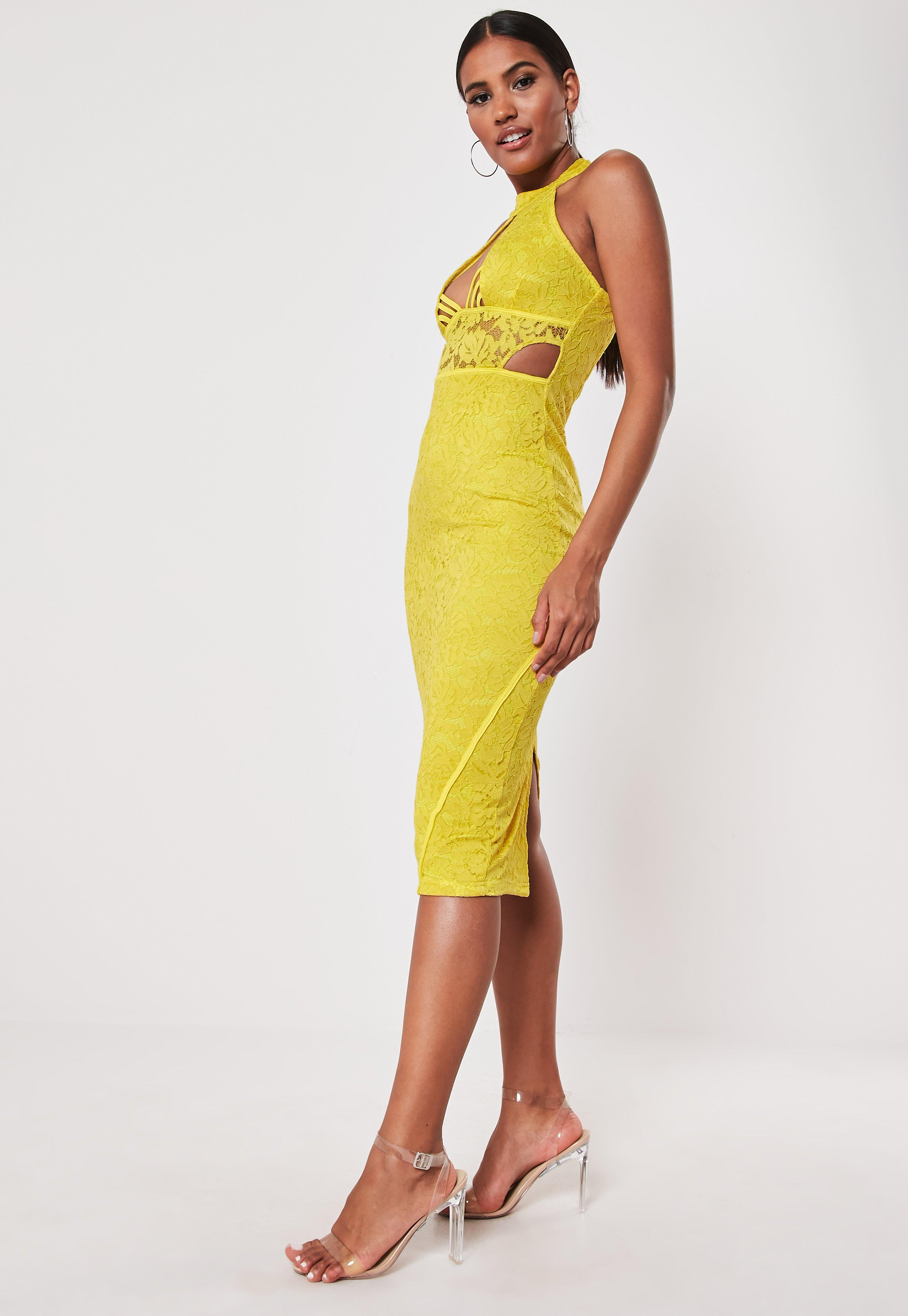 Yellow Lace Halter Cut Out Side Midi Dress by Missguided