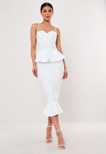 Premium White Bandage Bust Cup Peplum Midi Dress