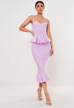7dd17bce2ab Premium Lilac Bandage Bust Cup Peplum Midi Dress