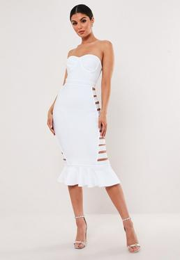 969b8a1867a White Bandage Side Panel Bodycon Midi Dress