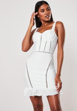 45d6e081cb7 Premium White Bandage Bust Cup Ruffle Hem Bodycon Mini Dress