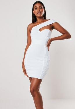 e83ceb89783 Premium White Bandage One Shoulder Bodycon Mini Dress