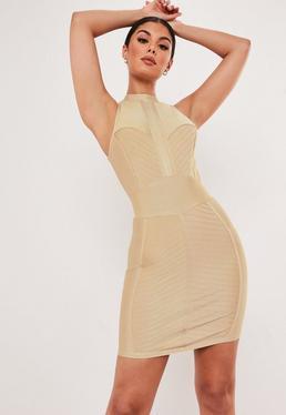 a72dd3e03032 Premium Champagne Bandage High Neck Bodycon Mini Dress