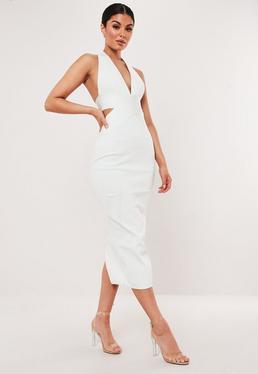 ff5e14b25a0 White Ribbed Halterneck Bandage Midaxi Dress