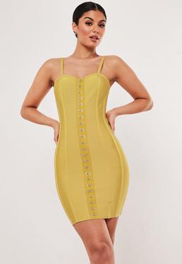 cefefc14f12 Premium Mustard Hook And Eye Bandage Bodycon Mini Dress