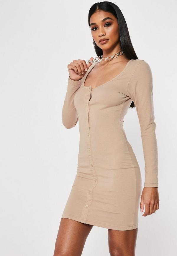 f6adf96f350b ... Stone Long Sleeve Bodycon Mini Dress. Previous Next