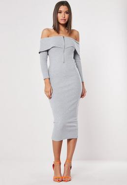 4690f4e7ed Grey Ribbed Long Sleeve Bardot Bodycon Midi Dress