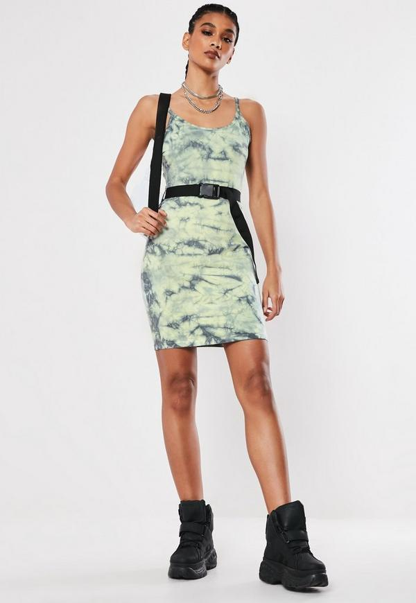 Green Tie Dye Belted Bodycon Cami Mini Dress Missguided