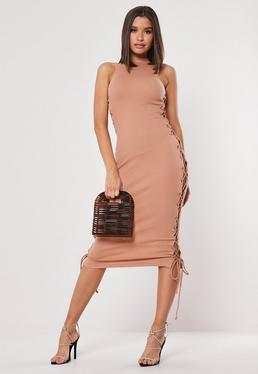 d51a80c2e17 ... Nude Ribbed Lace Up Side Bodycon Midaxi Dress