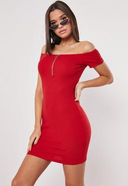 3e350b15ee Red Ribbed Bardot Zip Bodycon Mini Dress