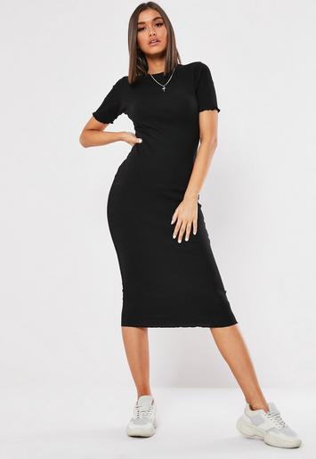 Black Ribbed Short Sleeve Lettuce Hem Midi Dress by Missguided
